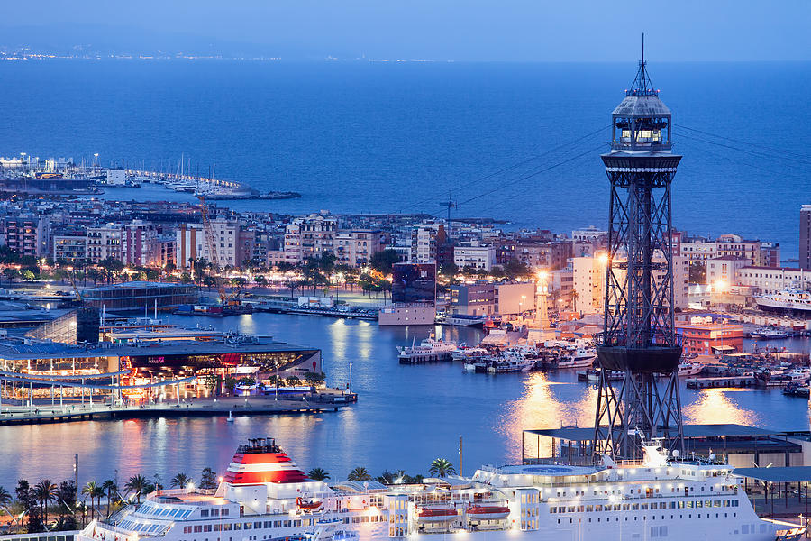 Barcelona Photograph - City Of Barcelona From Above At Night by Artur Bogacki