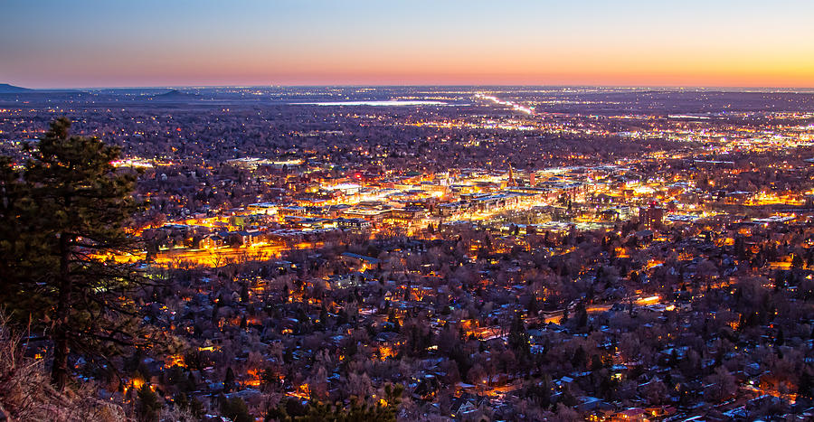City Of Boulder Colorado Downtown Scenic Sunrise Panorama Photograph