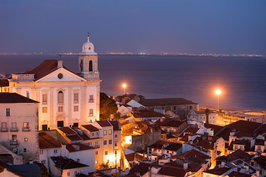 Lisbon Photograph - City Of Lisbon In Portugal At Night by Artur Bogacki