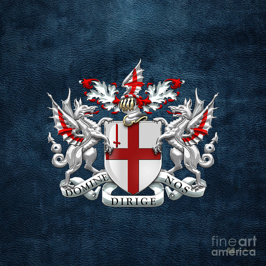City Of London Digital Art - City Of London - Coat Of Arms Over Blue Leather  by Serge Averbukh
