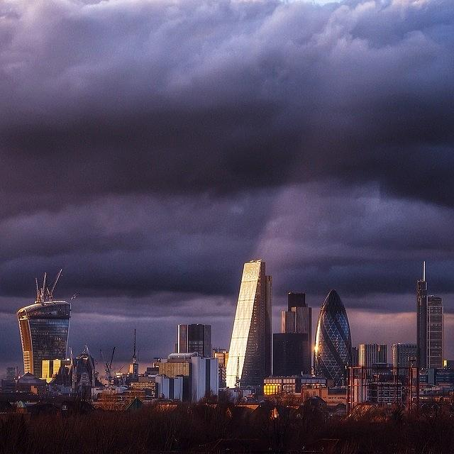 London Photograph - City Of London Skyline. Dark Moody by Neil Andrews