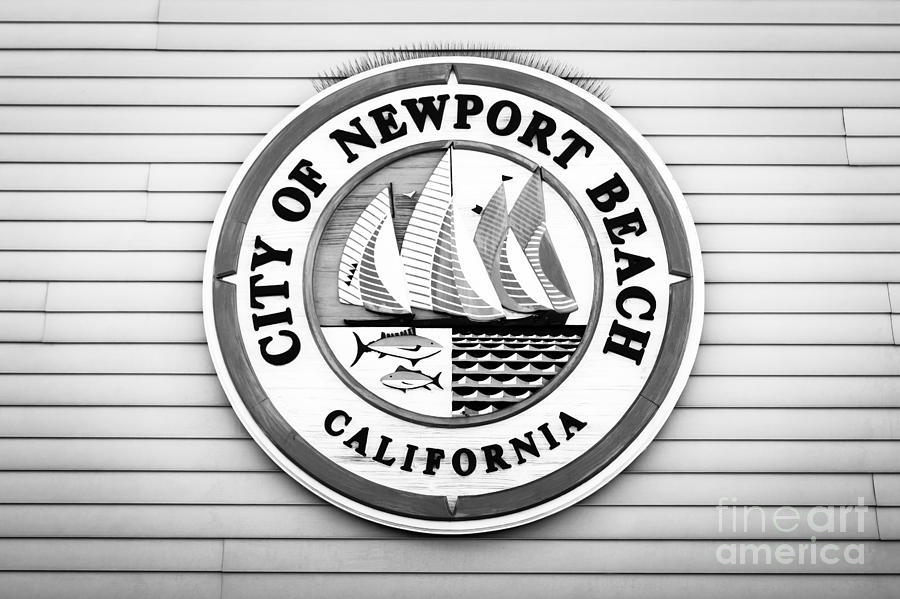 America Photograph - City Of Newport Beach Sign Black And White Picture by Paul Velgos