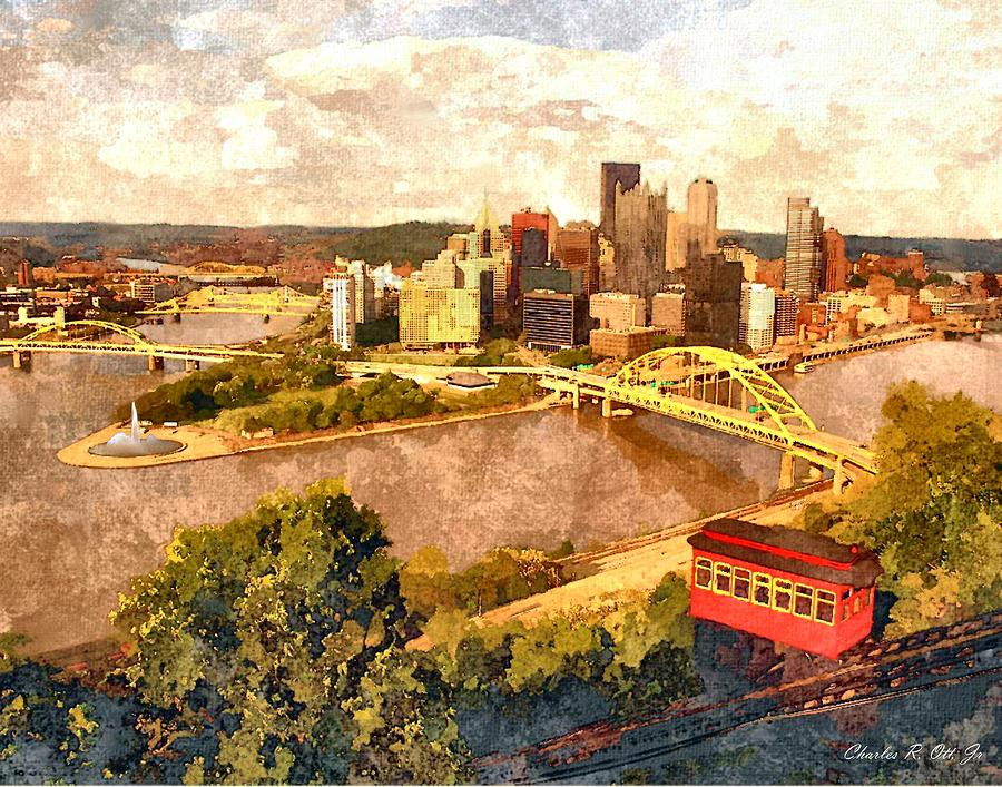 Architecture Painting - City of Pittsburgh Golden Triangle by Charles Ott