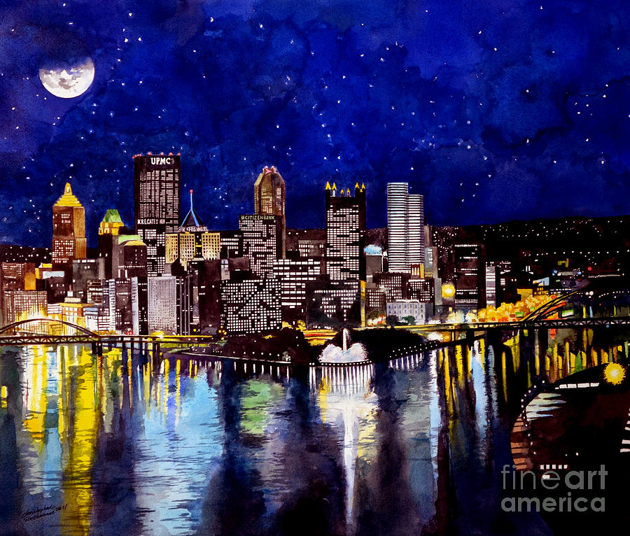 Supermoon Painting - City of Pittsburgh at the Point by Christopher Shellhammer