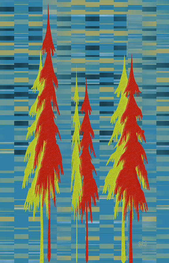 Pine Trees Digital Art - City Park by Ben and Raisa Gertsberg