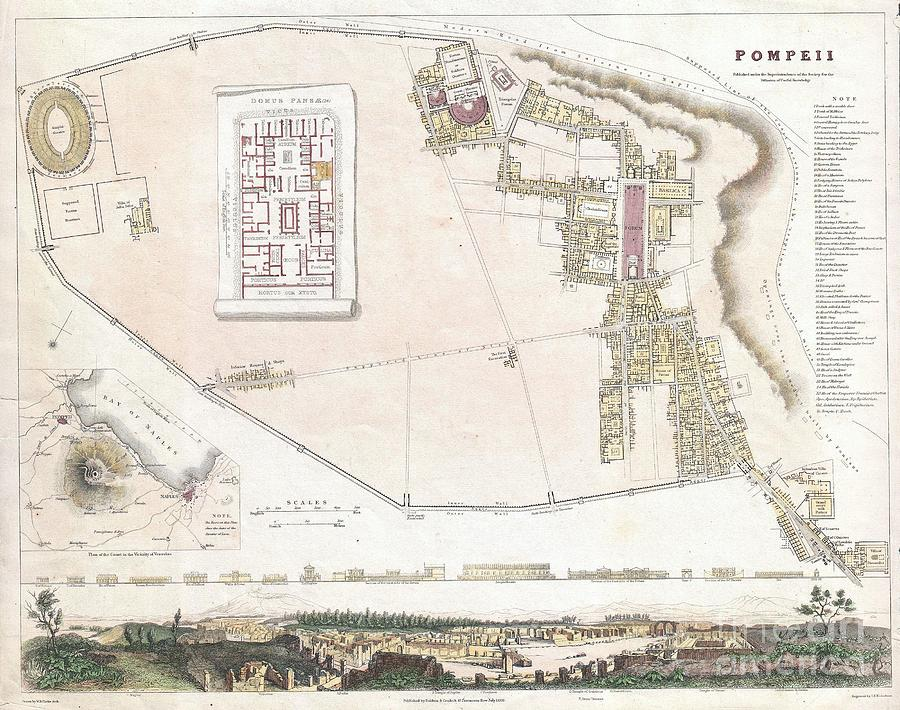 The Forum Photograph - City Plan Or Map Of Pompeii by Paul Fearn