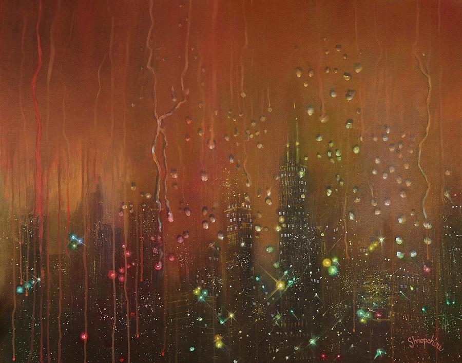 City Rain Against The Window Painting By Tom Shropshire