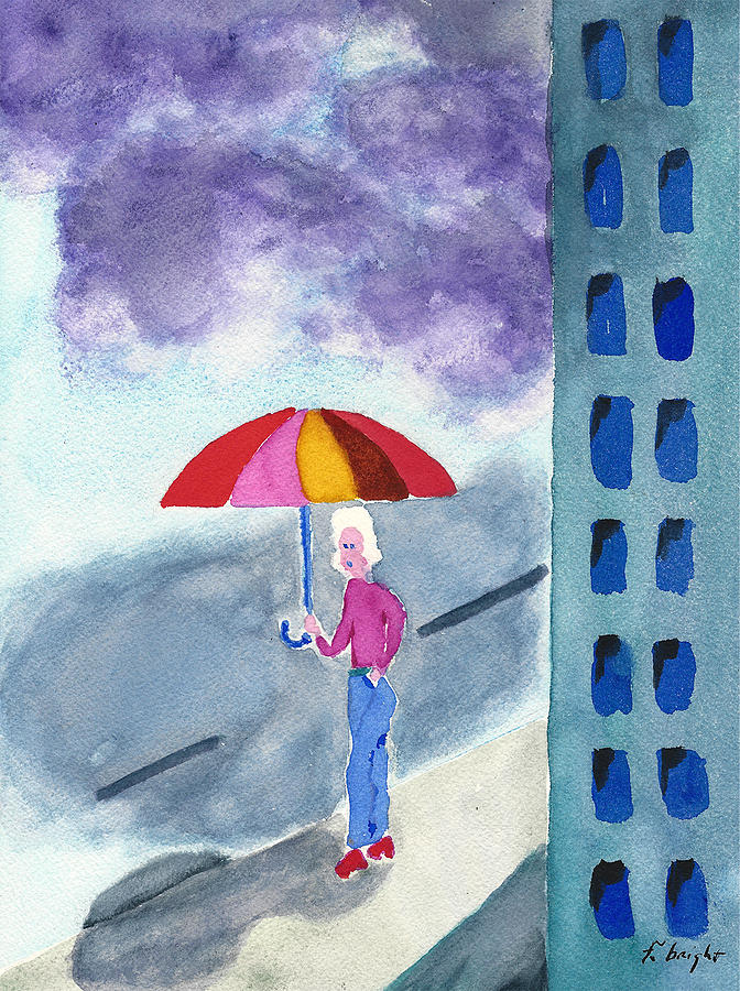 Watercolor Painting Painting - City Rain by Frank Bright