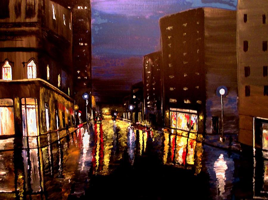 Mark Moore Painting - City Rain by Mark Moore