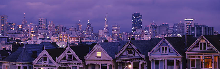 Color Image Photograph - City Skyline At Night, Alamo Square by Panoramic Images