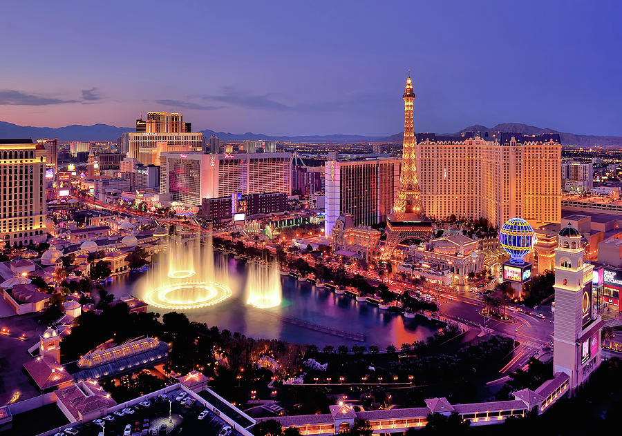 City Skyline At Night With Bellagio Photograph by Rebeccaang