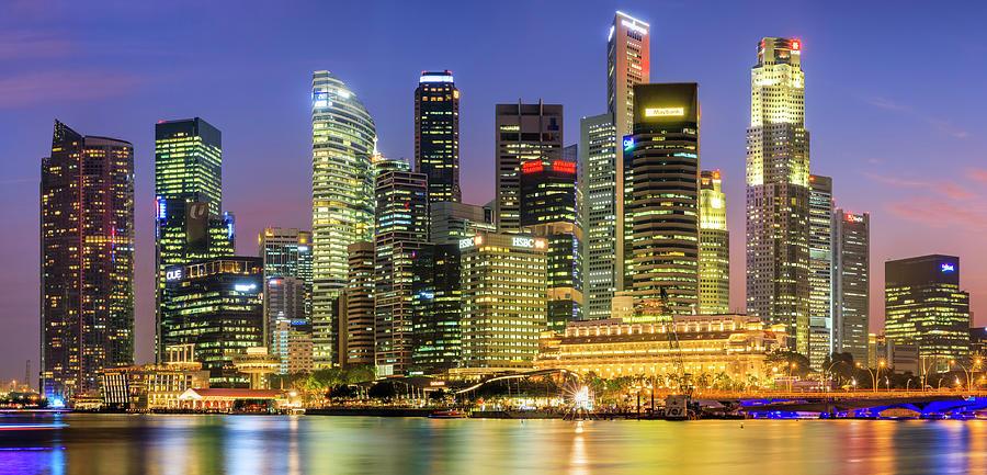 City Skyline - Singapore At Dusk 35mpix Photograph by Hadynyah