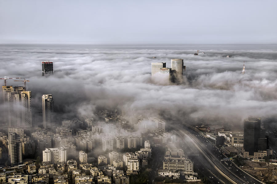 Israel Photograph - City Skyscrapers Above The Clouds by Ron Shoshani