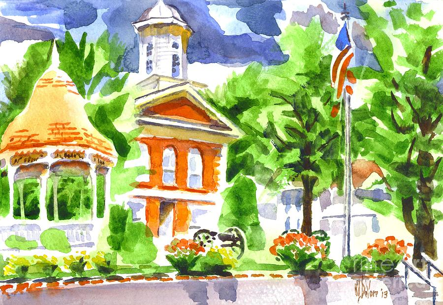 Summer Painting - City Square In Watercolor by Kip DeVore