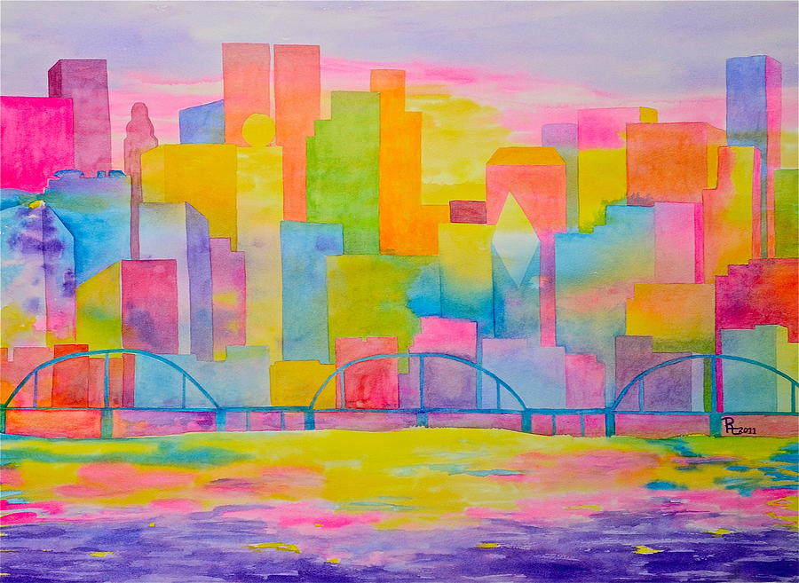 Abstract City Painting - City To Dye For by Rhonda Leonard