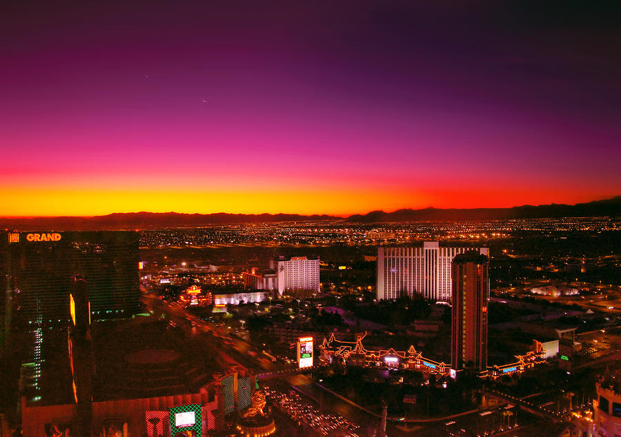Savad Photograph - City - Vegas - Ny - Sunrise Over The City by Mike Savad