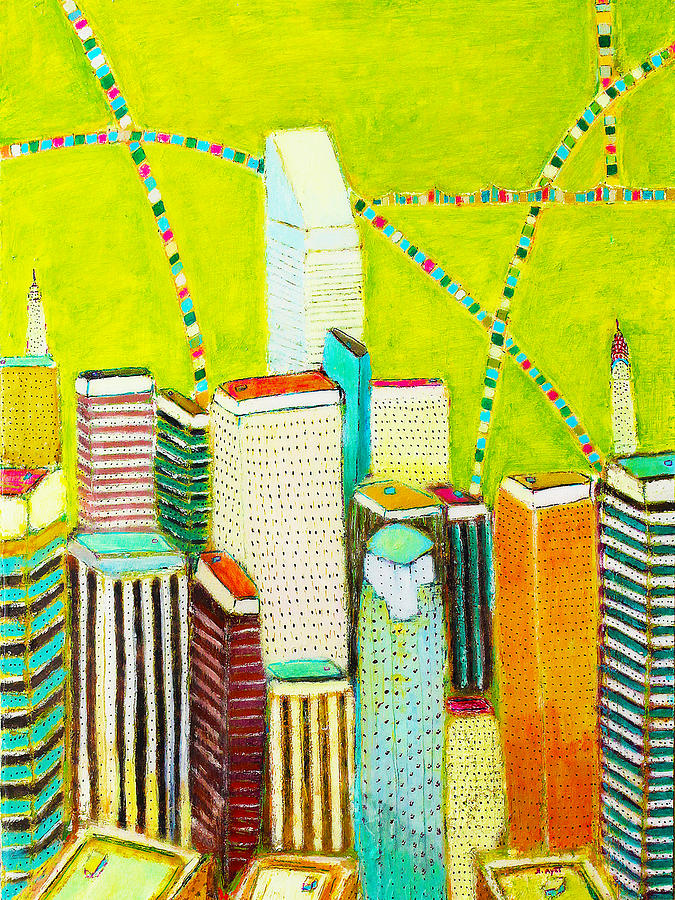 New York City Painting - City With Green by Habib Ayat