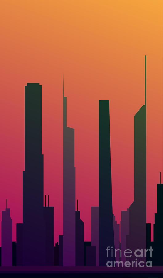 Office Digital Art - Cityscape Design Orange Version | Eps10 by Clickhere