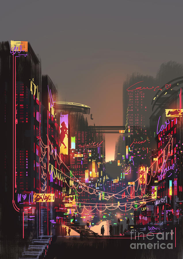 Decorate Digital Art - Cityscape Digital Painting Of Building by Tithi Luadthong