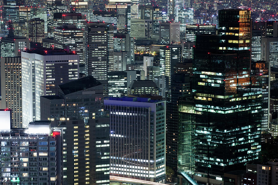 Majestic Photograph - Cityscape In Tokyo At Dusk Elevated View by Hiroshi Watanabe