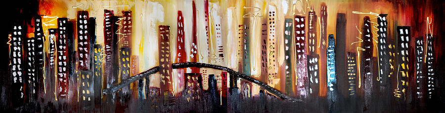 Cityscape Painting by Lisa McLean Adams