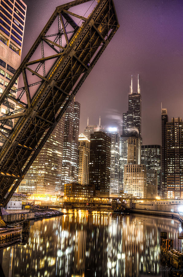 Buildings Photograph - Cityscape Reflection In Chicago River March 2014 by Michael  Bennett