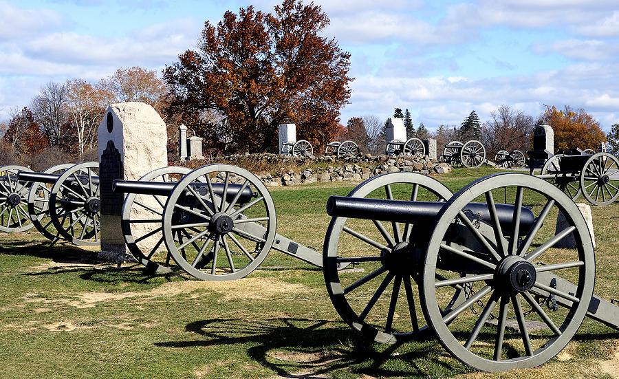 Gettysburg Photograph - Civil War Cannons At Gettysburg National Battlefield by Brendan Reals