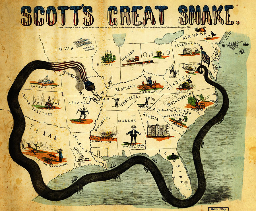 Poster Painting - Civil War Map Scotts Great Snake 1861 by MotionAge Designs
