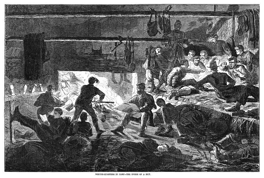 1863 Painting - Civil War Winter Quarters by Granger