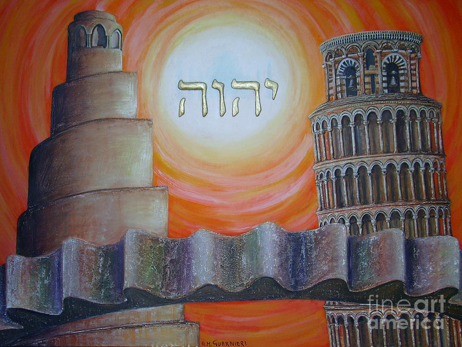 Civilization Painting - Civilization In Search Of The Sky by Anna Maria Guarnieri