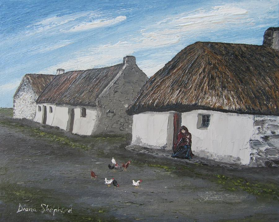 Claddagh Cottage 1930s Galway Ireland Painting By Diana Shephard