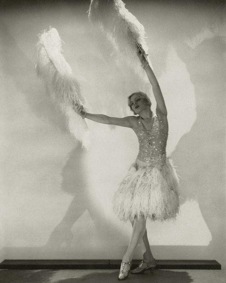 Claire Luce Holding Ostrich Feathers Photograph by Edward Steichen