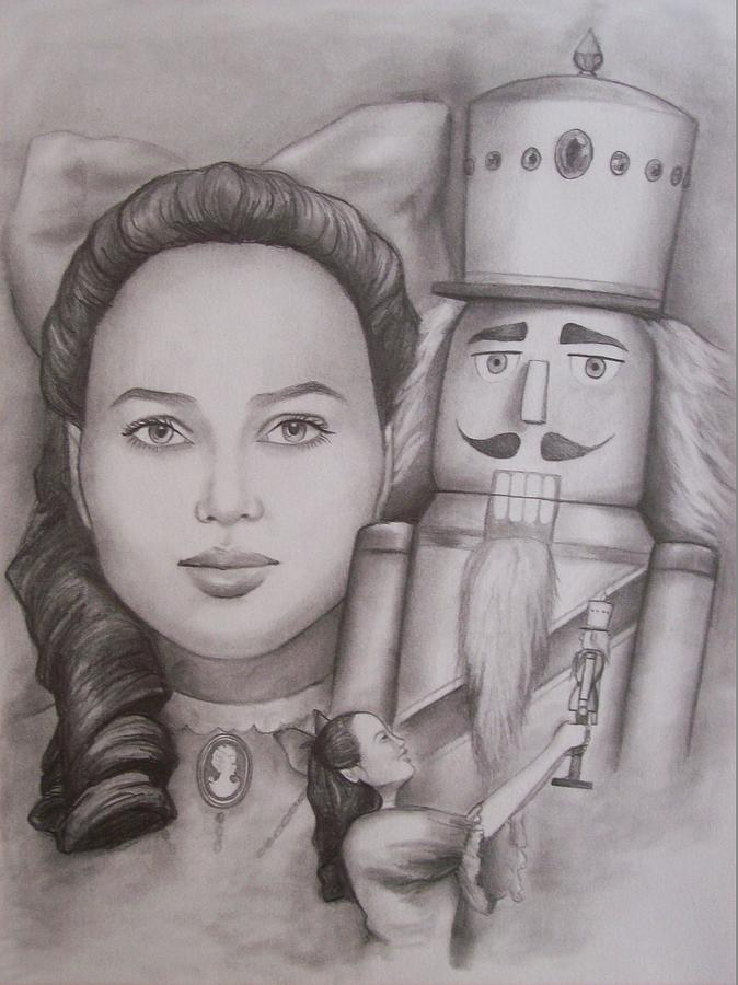 The Nutcracker Drawing - Clara And The Nutcracker by Amber Stanford