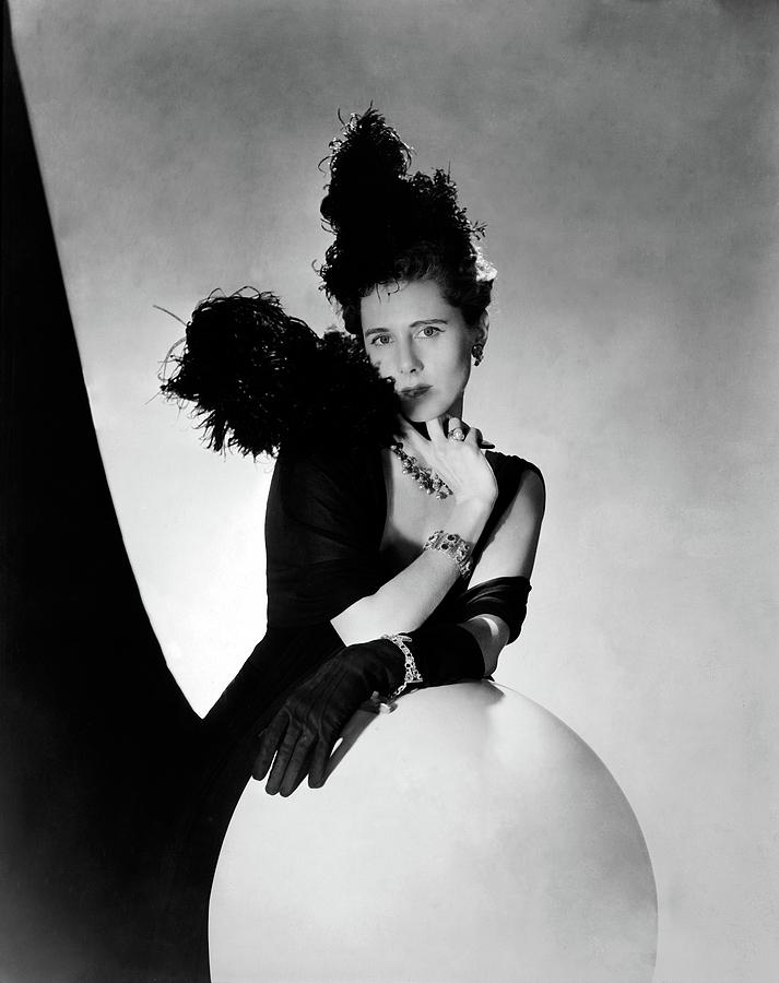Clare Boothe Luce Wearing Feathers Photograph by Horst P. Horst