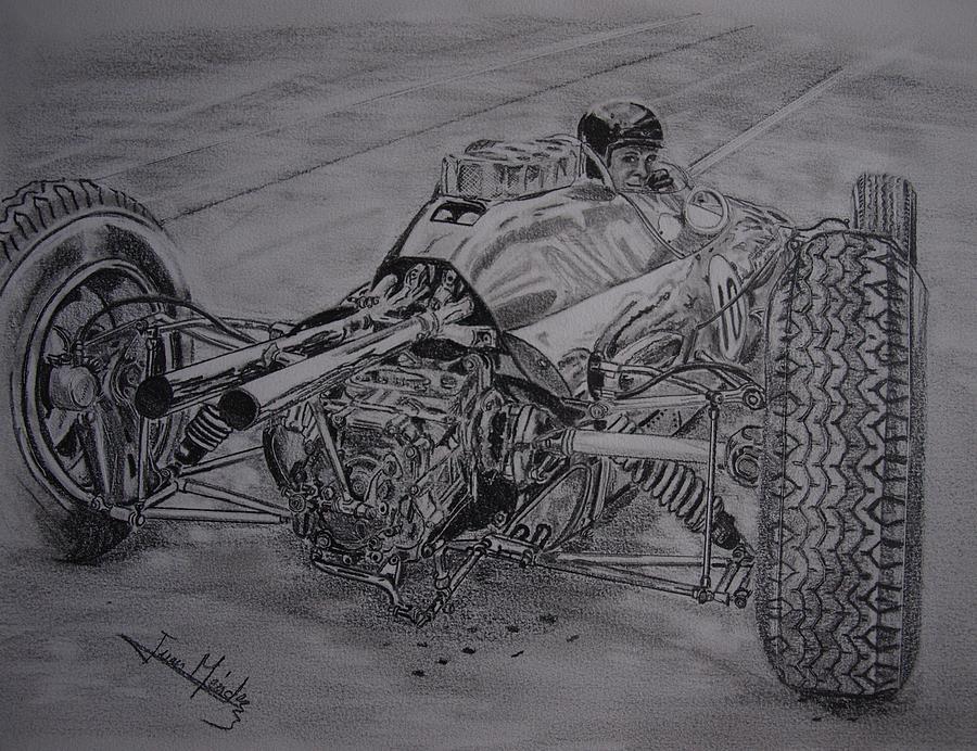 Jim Clark Drawing - Clark And The Lotus 25 by Juan Mendez