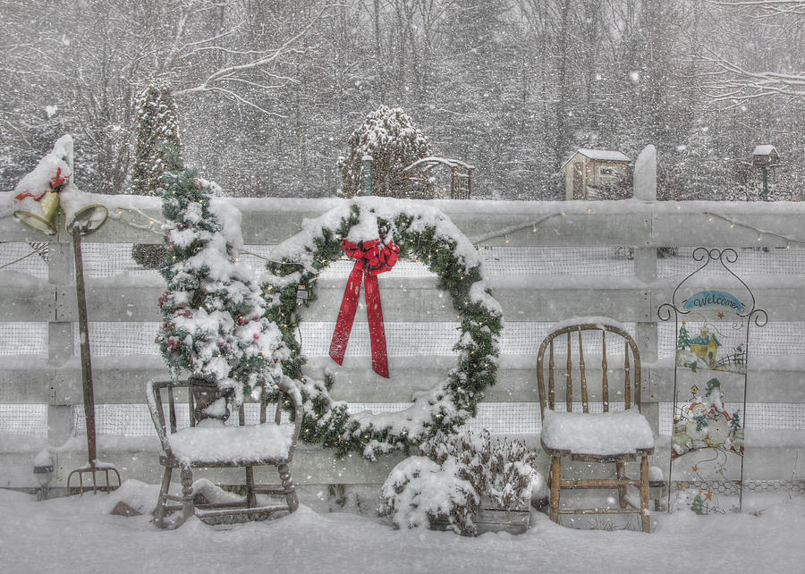 Fence Photograph - Clarks Valley Christmas 3 by Lori Deiter