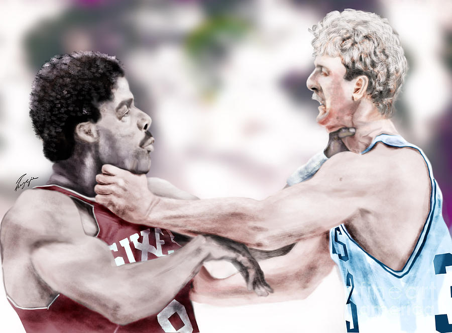 Sports Painting - Clash Of The Titans 1984 - Bird And Doctor  J by Reggie Duffie
