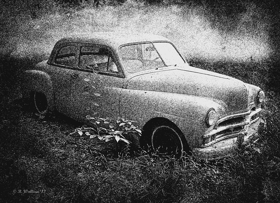 2d Photograph - Clasic Car - Pen And Ink Effect by Brian Wallace