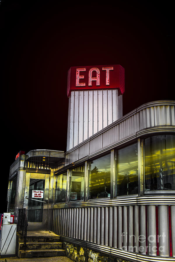 Diner Photograph - Classic American Diner At Night by Diane Diederich