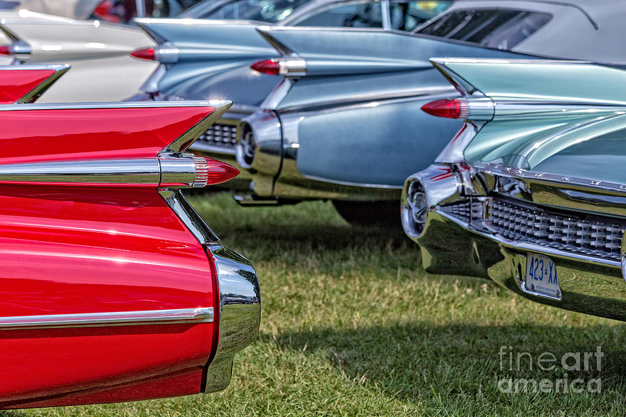 Cadillac Photograph - Classic Caddy Fin Party by Edward Fielding