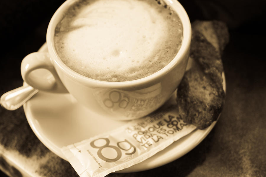 Classic Photograph - Classic Cafe Con Leche Cup In Spain by Calvin Hanson