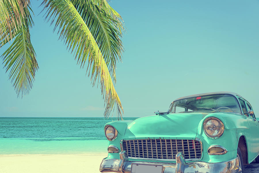 Classic Car On A Tropical Beach With Photograph by Delpixart