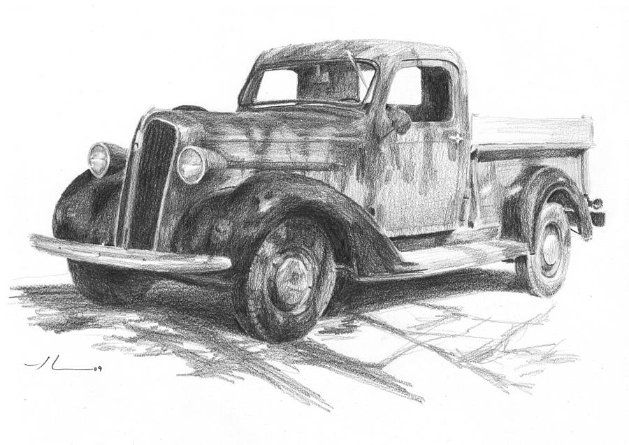 Classic Chevy Truck Pencil Portrait Drawing by Mike Theuer