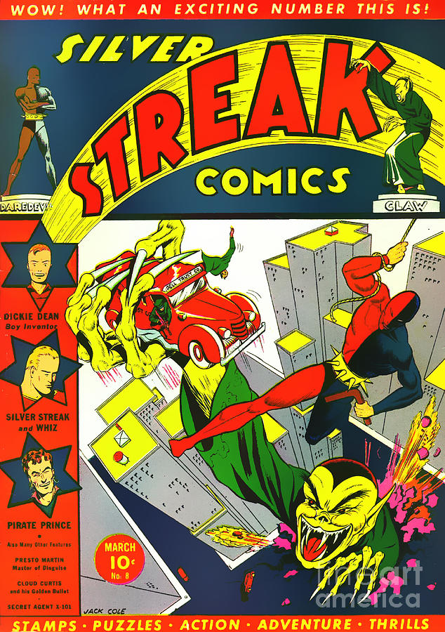 Classic Comic Book Cover Prints : Classic comic book cover silver streak comics daredevil