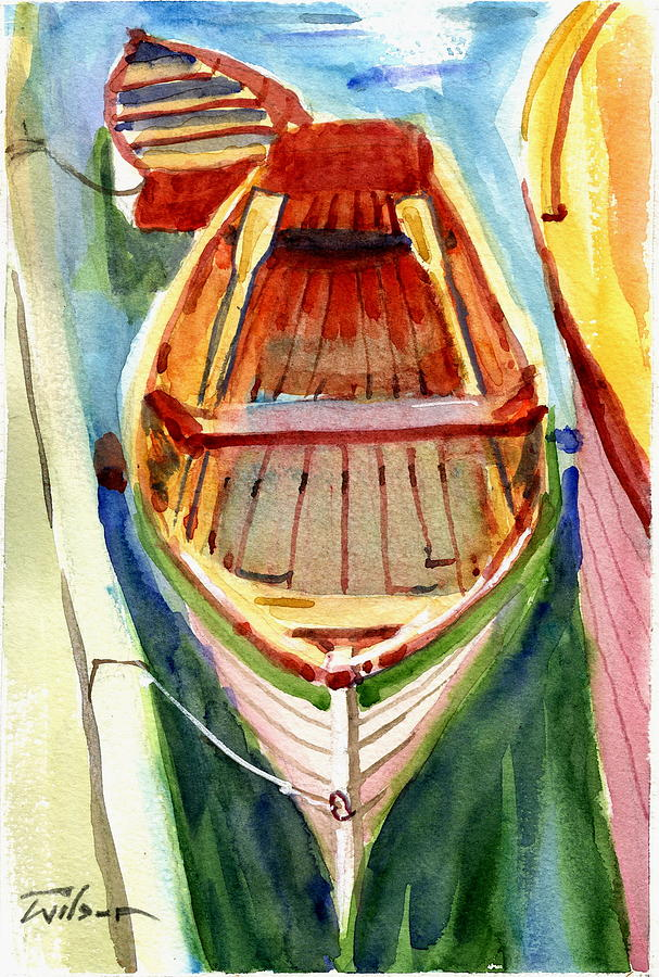Clasic Painting - Classic Dinghy - Watercolor Sketch by Ron Wilson