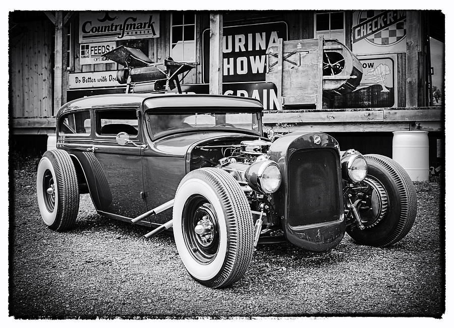 Classic Hot Rod Photograph - Classic Hot Rod In Black And White by Thomas Young