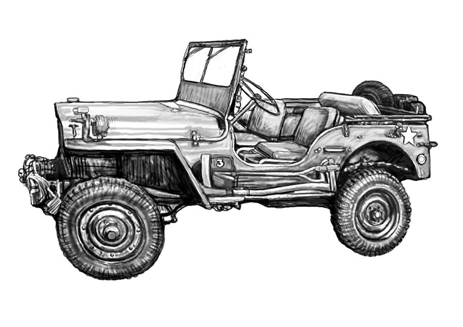 classic jeep in world 2 drawing art poster painting by kim