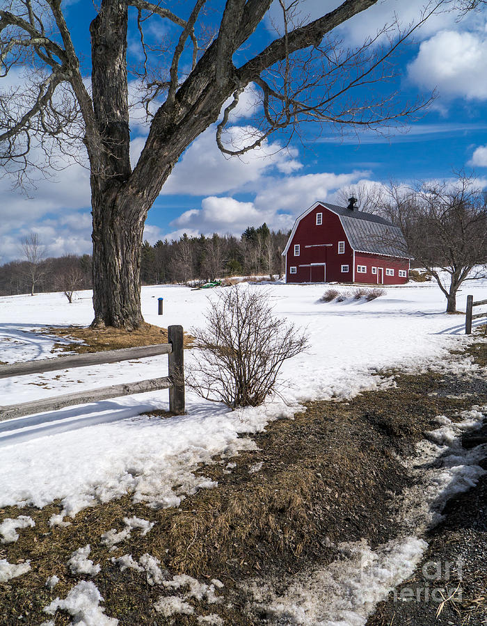 Red Photograph - Classic New England Farm Scene by Edward Fielding
