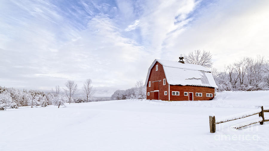 Barn Photograph - Classic New England Red Barn In Winter by Edward Fielding