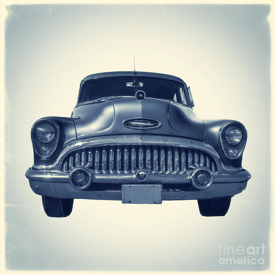 Square Photograph - Classic Old Car On Vintage Background by Edward Fielding
